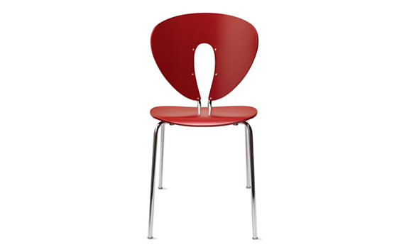 Globus Chair in Lacquered Wood with Chrome Frame