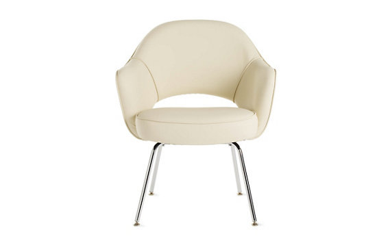 Saarinen Executive Armchair with Metal Legs - Leather