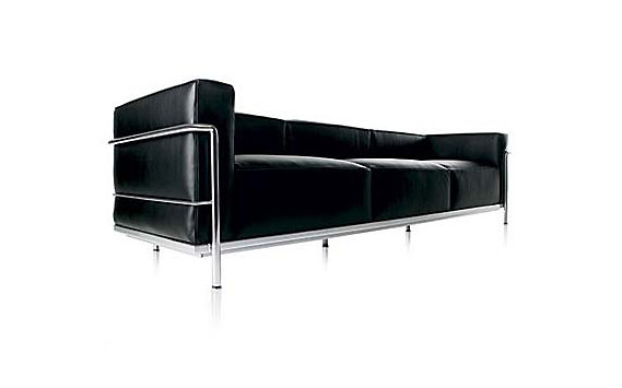 LC3 Grand Modele Three-Seat Sofa with Down Cushions – Chrome Frame/Color Leather