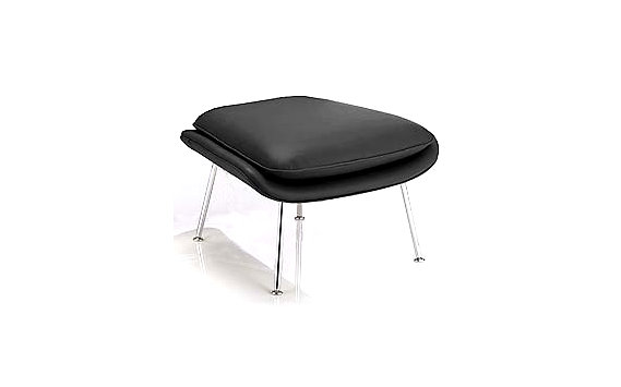 Womb™ Ottoman in Volo Leather, Chrome Frame