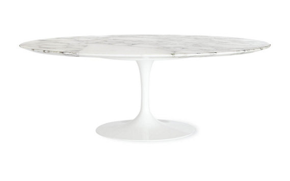 Saarinen Low Oval Coffee Table in Coated Marble 1