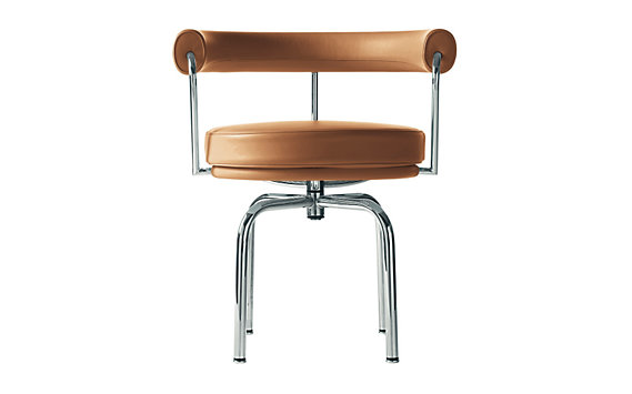 LC7 Swivel Chair with Chrome Frame in Color Leather