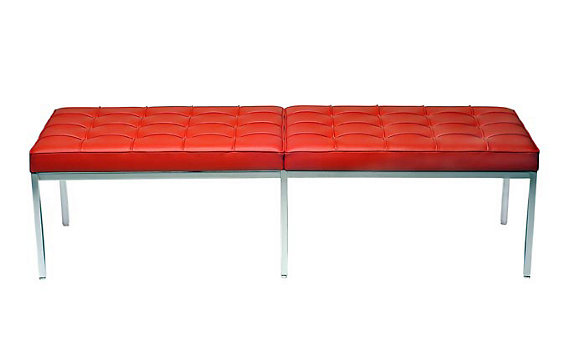 Florence Knoll Three-Seater Bench in Leather