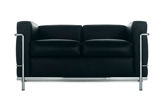 LC2 Petit Modele Two Seat Sofa – Chrome Frame/Color Leather