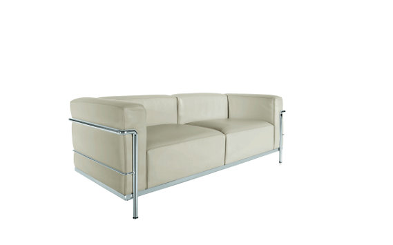 LC3 Grand Modele Two-Seat Sofa with Down Cushions – Chrome Frame/Color Leather