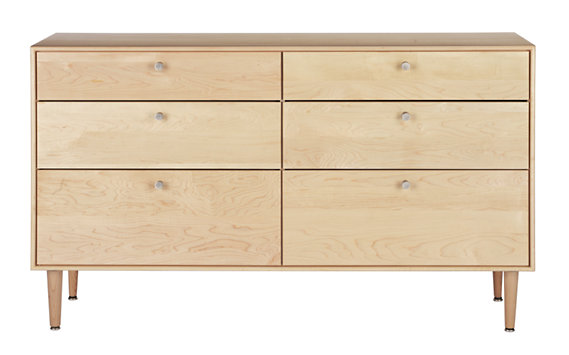 American Modern 6-Drawer Dresser in Maple