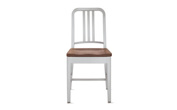 1006 Navy® Side Chair with Brushed Finish and Wood Seat