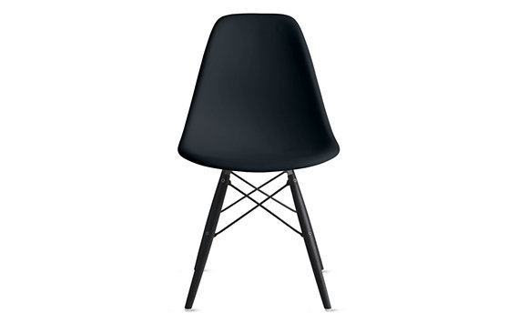 Eames® Molded Plastic Dowel-Leg Side Chair (DSW), Black/Maple