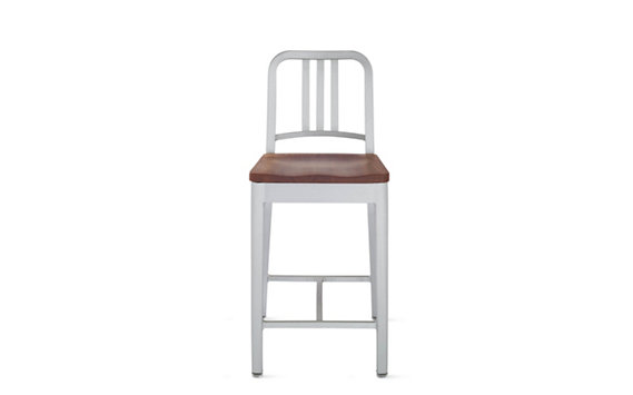 1006 Navy® Counter Stool with Wood Seat, Brushed