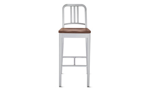 1006 Navy® Barstool with Wood Seat, Brushed