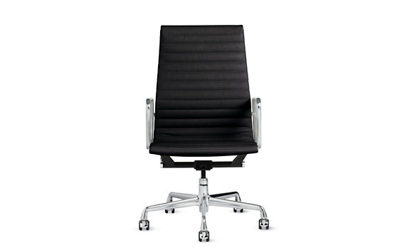 Eames® Chair, Vicenza Leather, Polished Aluminum Legs