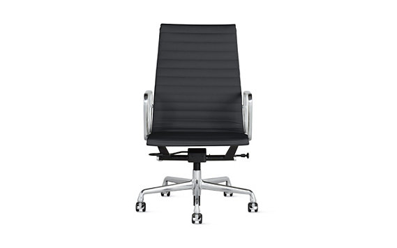Eames® Chair, Pneumatic, Vicenza Leather, Polished Aluminum Legs