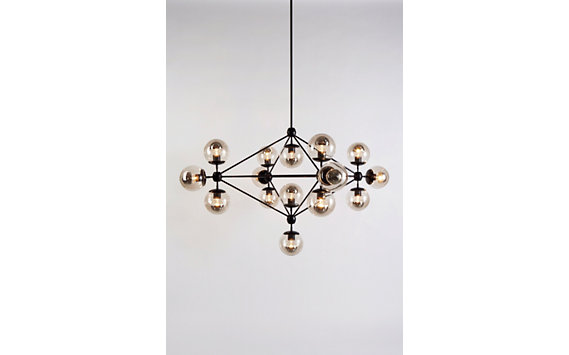 Modo Chandelier, 4 Sided, 15 Globes