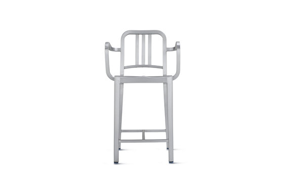1006 Navy® Counter Stool with Arms in Brushed Finish