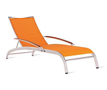 "Lucca ""3 Series"" Chaise in Triple-Twist Weave with Teak Arms"