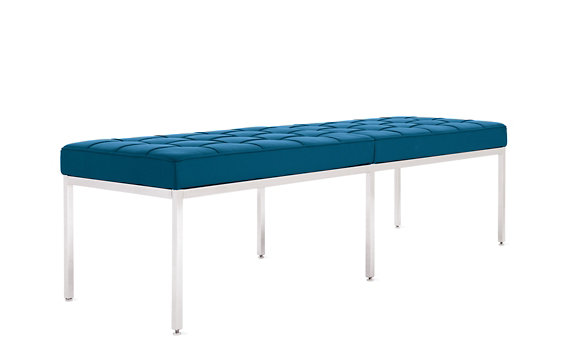 Florence Knoll Three-Seater Bench in Acqua Leather