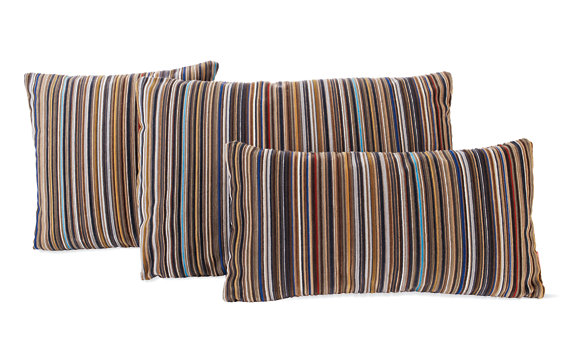 "Maharam DWR Pillow, 17"" x 17"" in Epingle Stripe (Caramel)"