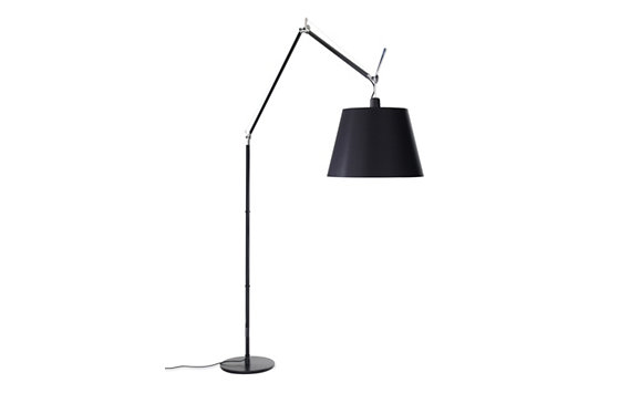 "Tolomeo Mega Floor Lamp with 17"" Black Fiber Shade"