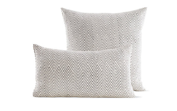 Silk Pillow in Chevron Block