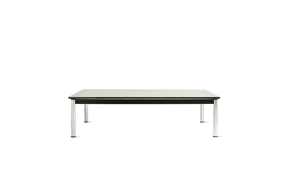 Outdoor LC10 Rectangular Table With Matte Black Glass Top