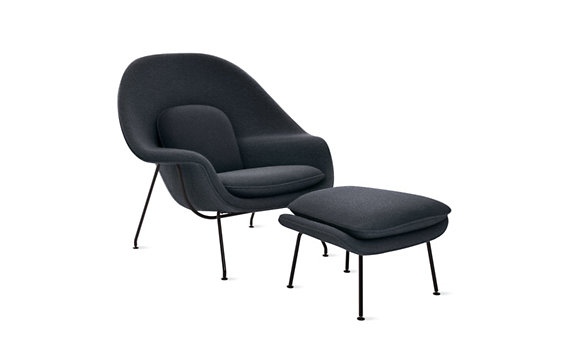 Womb™ Chair in Classic Boucle Fabric, Black Frame