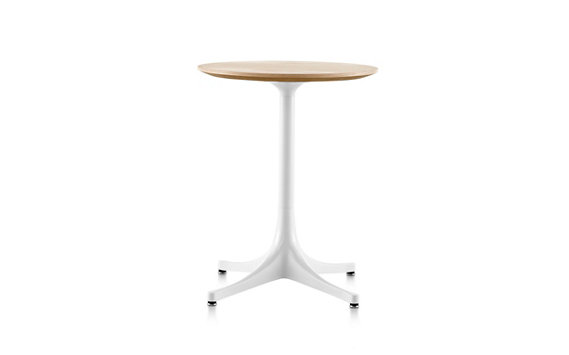 Nelson™ Pedestal Side Table, White Aluminum