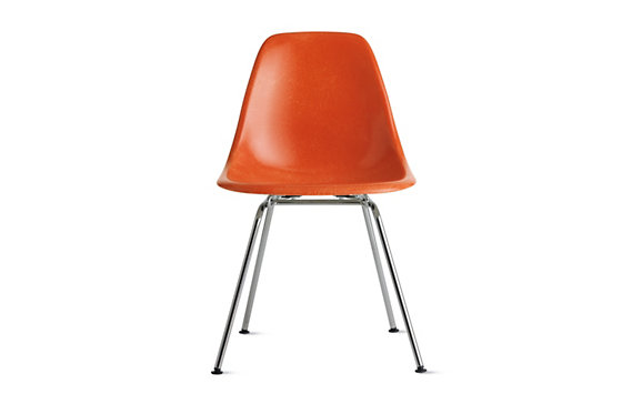 Eames® Molded Fiberglass 4-Leg Side Chair (DFSX), Chrome