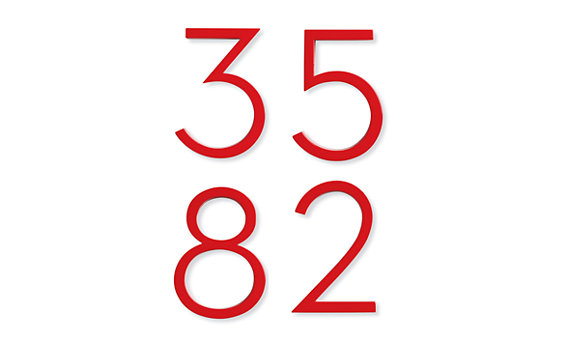 Neutra House Numbers in Red
