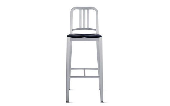 1006 Navy® Barstool with Seat Pad, Brushed