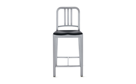 1006 Navy® Counter Stool with Seat Pad, Brushed