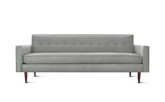 "Bantam Sofa 86"", Cotton Twill, Walnut Legs"