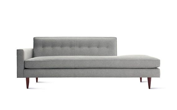 Bantam Studio Sofa Left, Cotton Twill, Walnut Legs