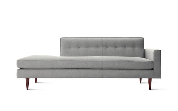 Bantam Studio Sofa Right, Cotton Twill, Walnut Legs