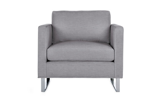 Goodland Armchair, Basket Weave, Stainless Legs