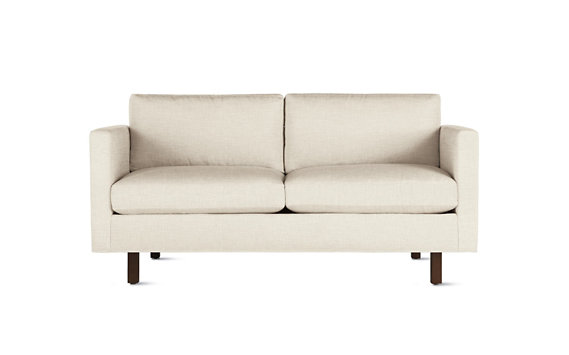 Goodland Two Seater Sofa, Basket Weave, Walnut Legs