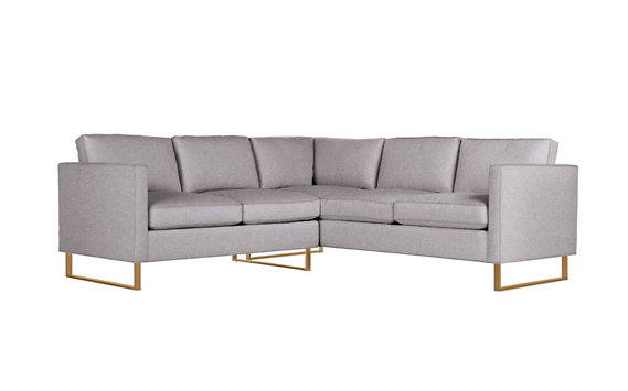 Goodland Small Sectional, Basket Weave, Bronze Legs