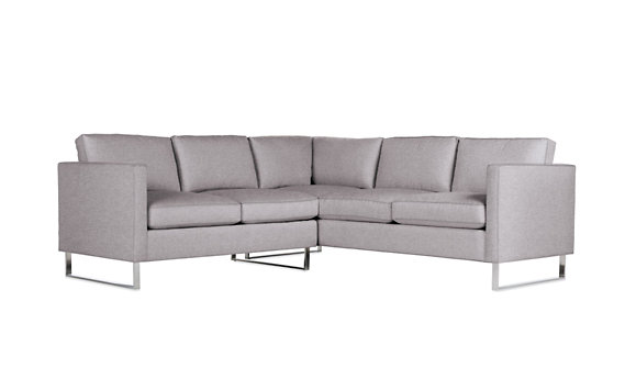 Goodland Small Sectional, Basket Weave, Stainless Legs