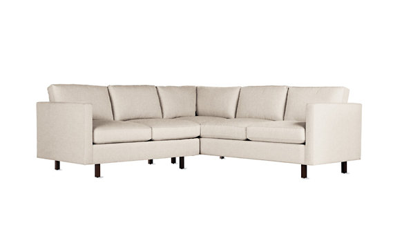 Goodland Small Sectional, Basket Weave, Walnut Legs
