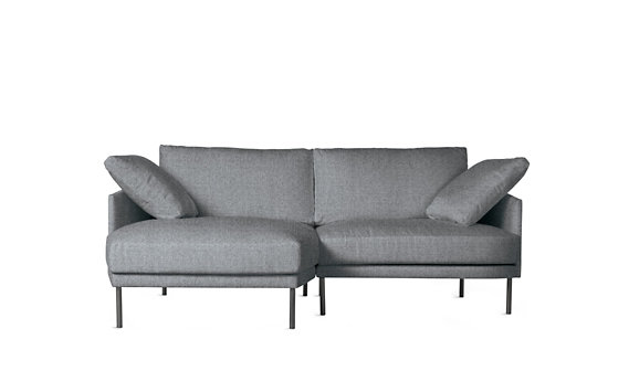 Camber Compact Sectional, Left, Lama Tweed, Onyx Legs