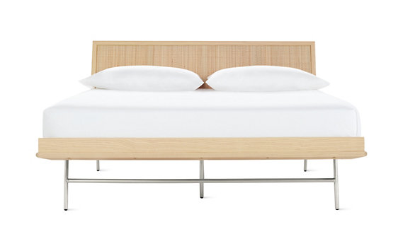 Nelson thin edge bed with cane panel h frame legs design within reach - Design within reach bed frame ...
