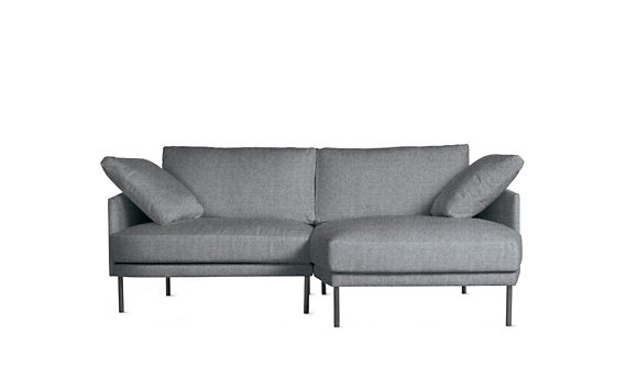 Camber Compact Sectional, Right, Lama Tweed, Onyx Legs