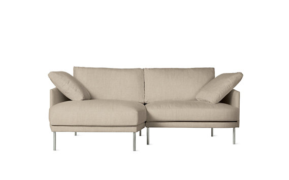 Camber Compact Sectional, Left, Lama Tweed, Stainless Legs