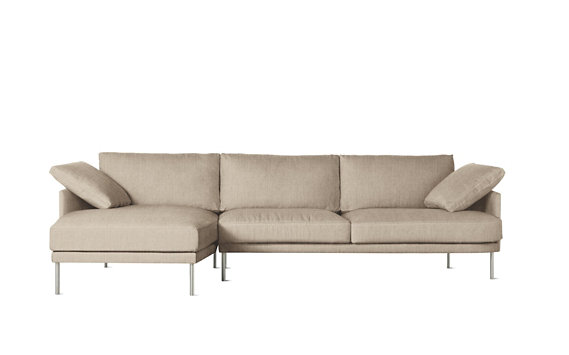 Camber Full Sectional, Left, Lama Tweed, Stainless Legs