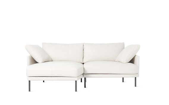Camber Compact Sectional, Left, Encore Leather, Onyx Legs