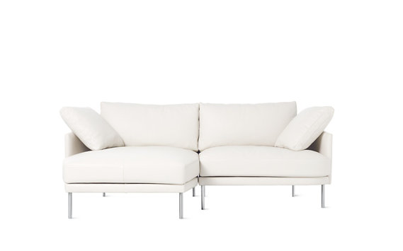 Camber Compact Sectional, Left, Encore Leather, Stainless Legs
