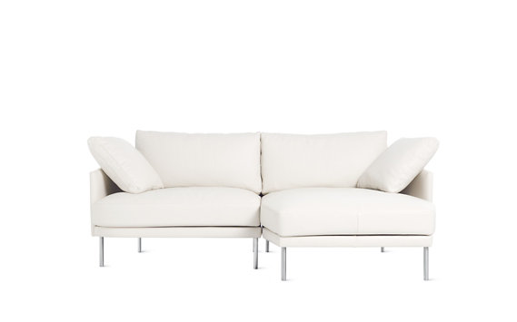 Camber Compact Sectional, Right, Encore Leather, Stainless Legs