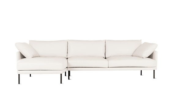 Camber Full Sectional, Left, Encore Leather, Onyx Legs