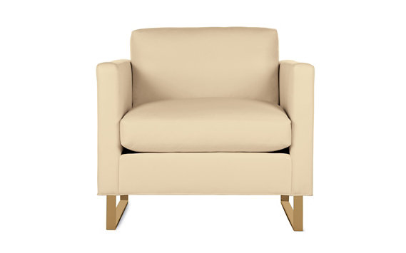 Goodland Armchair in Leather, Bronze Legs