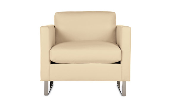 Goodland Armchair in Leather, Stainless Legs