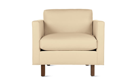 Goodland Armchair in Leather, Walnut Legs